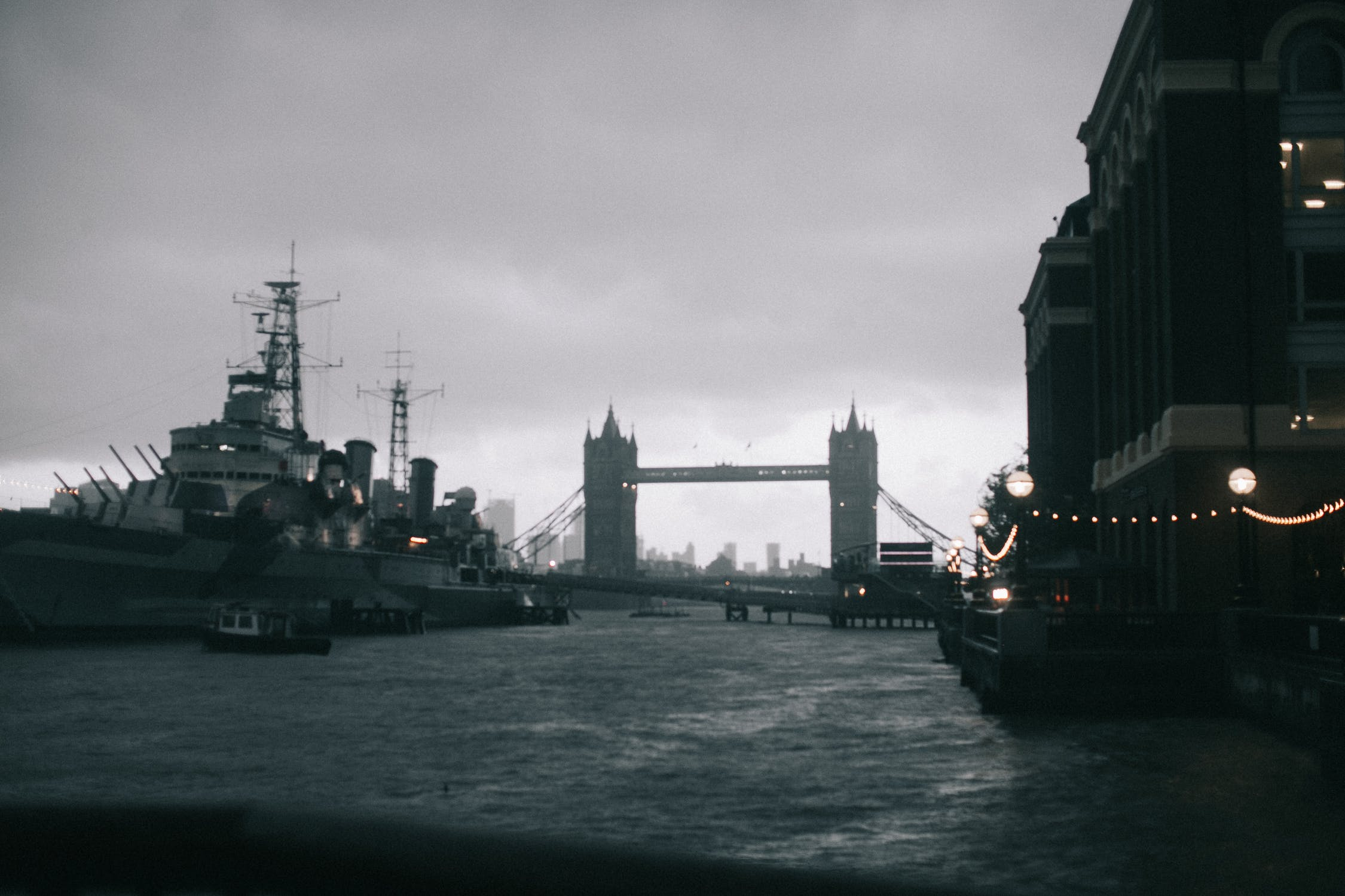 Warship in London bridge.,